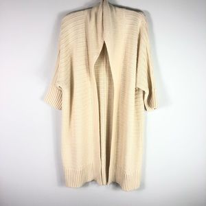 Fashion to Figure Cream Long Cardigan Sweater Open